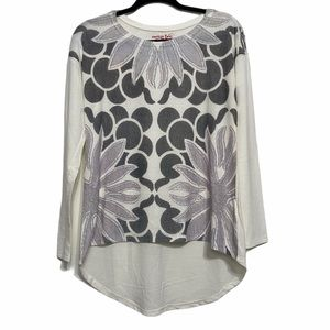 American Twist White Long Sleeve abstract flowers